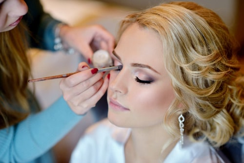 Makeup application on Bride